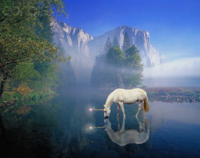 Unicorn Drinking from a River