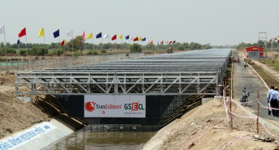 Solar Panels over the Narmada Canal in India.