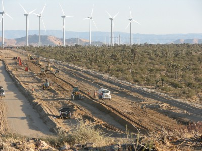 Bulldozers clear an intact desert ecosystem, including hundreds of old Joshua Trees to make way for the Alta Wind facility in the western Mojave Desert. Google is again an investor in this project.