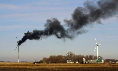 Turbine fire with black smoke