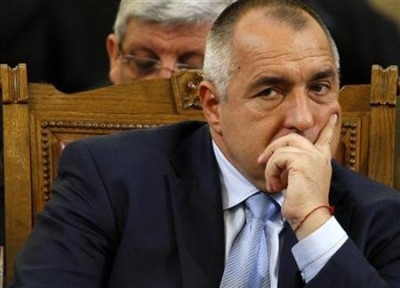 Bulgarian Prime Minister Borisov reacts during confidence vote debates in parliament in Sofia