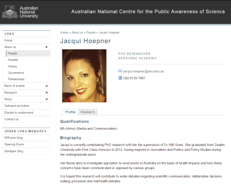 jacqui hoepner at ANU