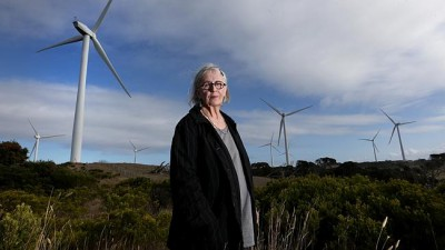 Sonia Trist near wind turbines behind her property at Cape Bridgewater in Victoria's southwest. Picture: David Geraghty Source: News Corp Australia