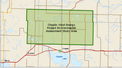 This diagram shows the environmental assessment study area for a wind turbine system, proposed to be built in the area north of Chaplin, Sask.