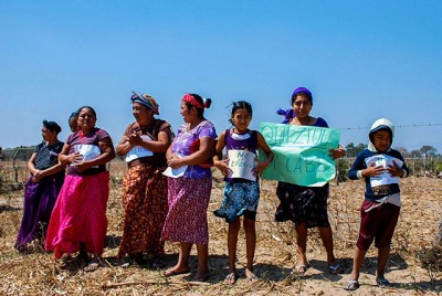 Community women demonstrate against the wind projects on their ancestral land.