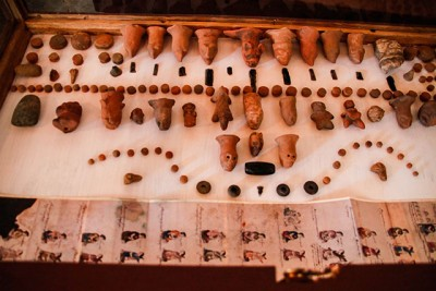 Archaeological remains found by farmers on their land.