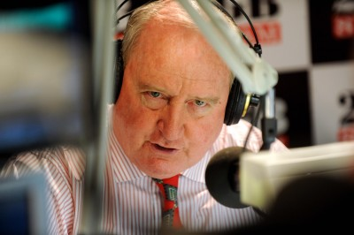 Radio broadcaster Alan Jones returns to the air after taking a break to recover from a series of health problems in Sydney, Monday, Sept. 28, 2009. The host of the breakfast radio slot on Sydney's 2GB returned this morning following surgery to remove a brain tumour. (AAP Image/Tracey Nearmy) NO ARCHIVING