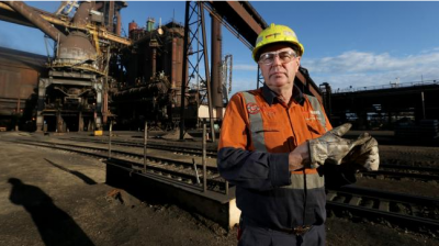 Gerard Mahoney, manager of iron making at the Arrium steel works, in front of the blast furnace in Whyalla.
