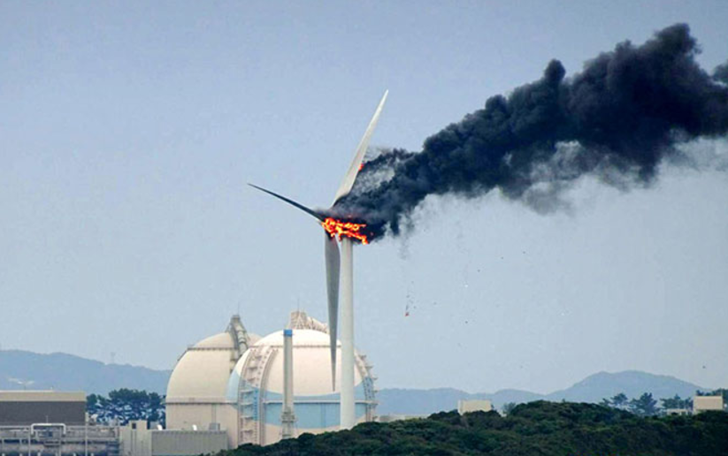 Japanese Pyro Saga: Wind Turbine Explodes in Fireball at Nuclear Power Plant