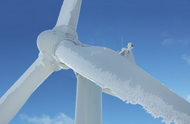 frozen wind turbines
